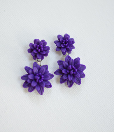 Loren Double Dahlia Earrings in Deep Purple