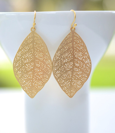 Ready To Ship. Large Gold Filigree Leaf Earrings