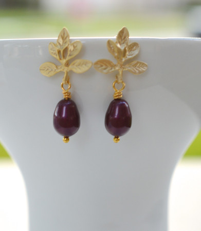 Gold Leaves Branch and Pearls Stud Earrings