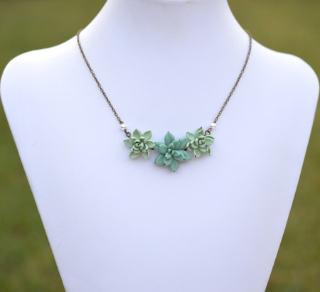 Pale Green and Dusty Mint Trio Succulents Centered Necklace.