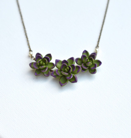 Deep Green and Purple  Trio Succulent Centered Necklace.