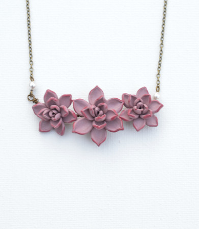 Trio Light Dusty Pink Trio Succulent Centered Necklace