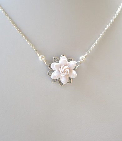 White Gardenia Drop Necklace . BRADLEY