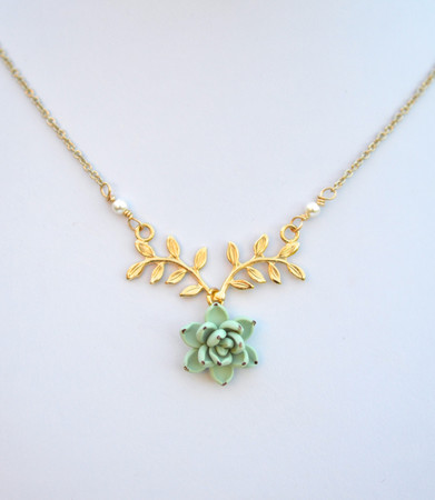 ATHENA Branch Drop Necklace in Pale Green succulent