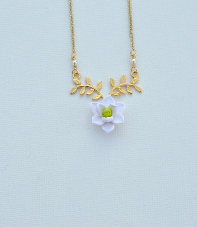 ATHENA Branch Drop Necklace in White Magnolia