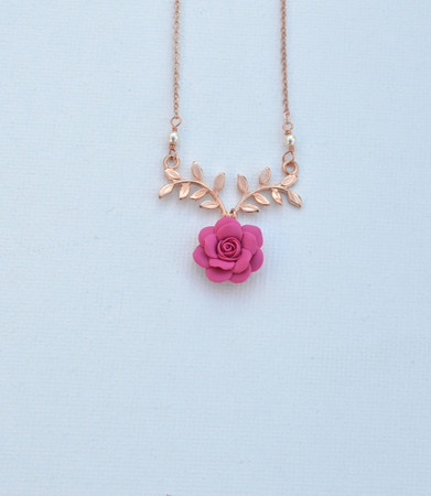 ATHENA Branch Drop Necklace in Fruit Punch Pink Rose