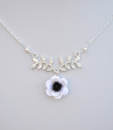 ATHENA Branch Drop Necklace in White Anemone/Poppy
