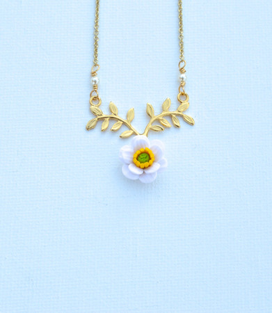 ATHENA Branch Drop Necklace in White and Green Anemone/Poppy