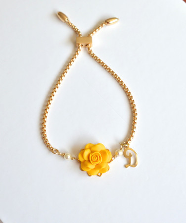 DARLENE Adjustable Bracelet in Golden Yellow Rose with Initial