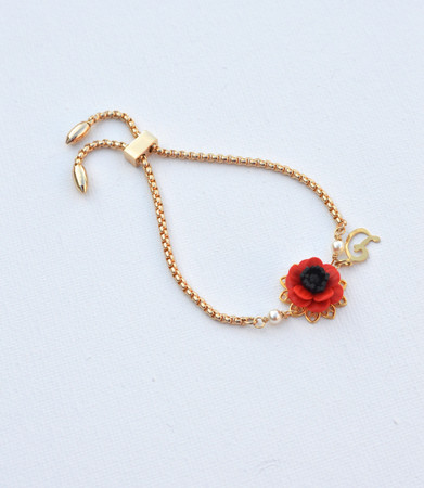 DARLENE  Adjustable Sliding Bracelet in  Red Poppy/Anemone with Initial