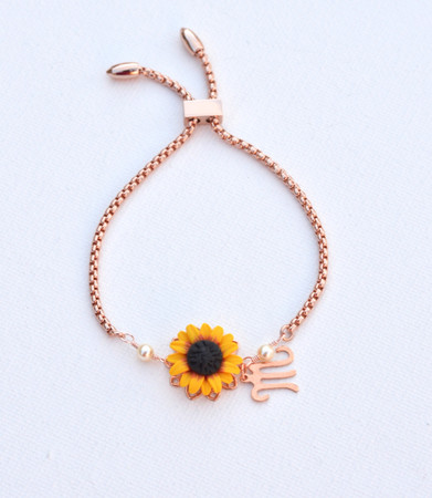 DARLENE Adjustable Sliding Bracelet in Red and Yellow Sunflower  with Initial
