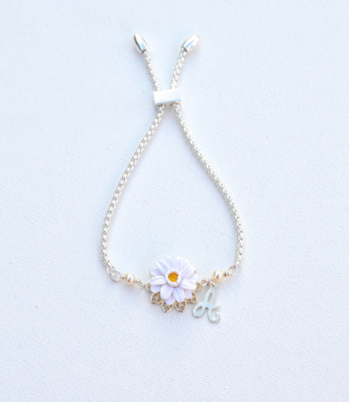 DARLENE Adjustable Sliding Bracelet in White Gerbera Daisy with Initial