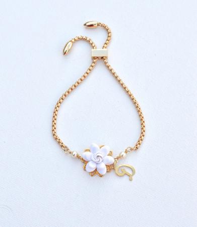 DARLENE Adjustable Sliding Bracelet in White  Gardenia with Initial