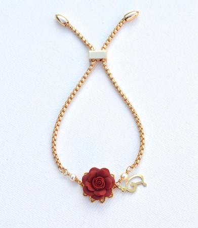DARLENE Adjustable Bracelet in Red Garnet Rose