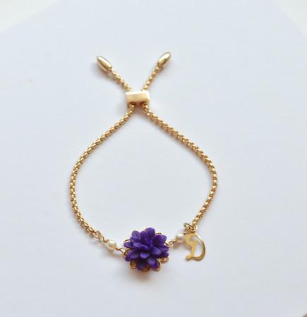 DARLENE Adjustable Sliding Bracelet in Deep Purple Dahlia