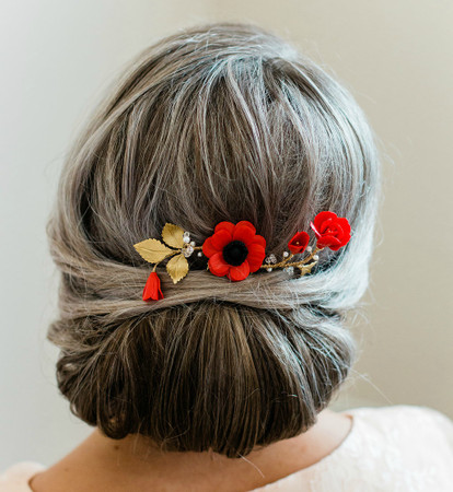 Linden Hair Comb in Red Poppy /Red Anemone