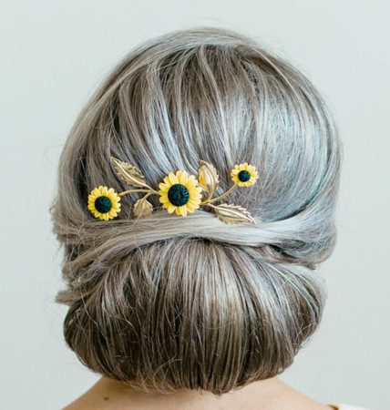 Francia Hair Comb  in Golden Yellow Sunflower