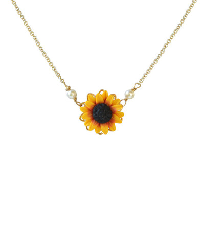 Bradley Drop Necklace in Red Yellow Sunflower.