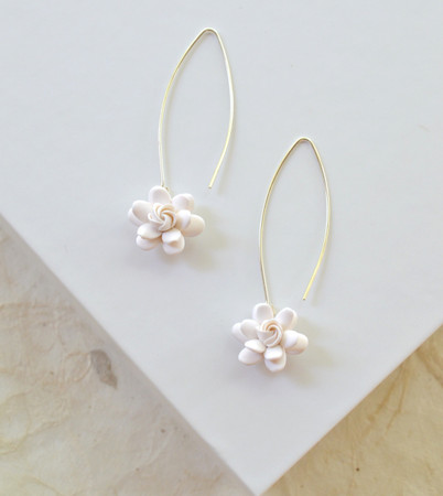 Dara Long Drop Earrings in White Gardenia