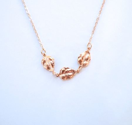 Trio Tiny Metal Leaves Necklace