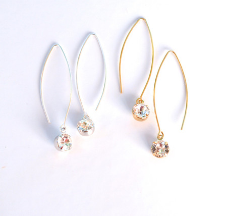 Marquise Long Drop Earrings in Swarovski Crystals