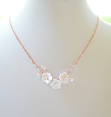 White Cherry Blossom Vine Necklace