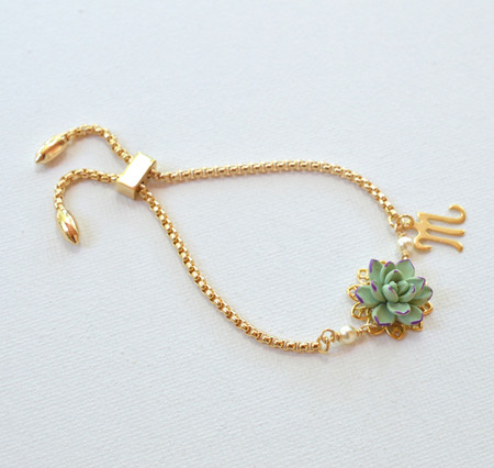 DARLENE Adjustable Sliding Bracelet in Pale  Green-Purple