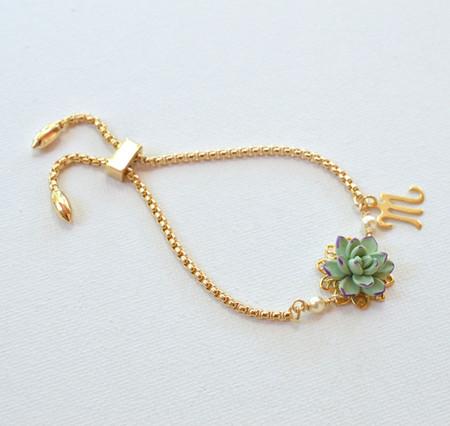 DARLENE Adjustable Sliding Bracelet in Pale  Green-Purple