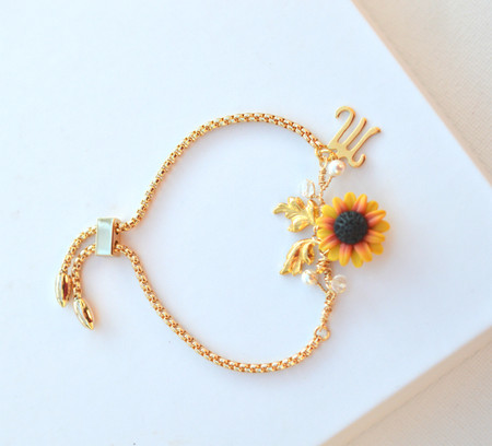 Kennedy Initial Vine Sliding Bracelet in Red Yellow Sunflower