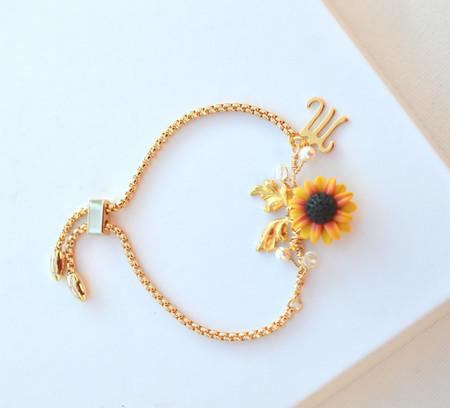 Kennedy Initial Vine Sliding Bracelet in Red Yellow Sunflower