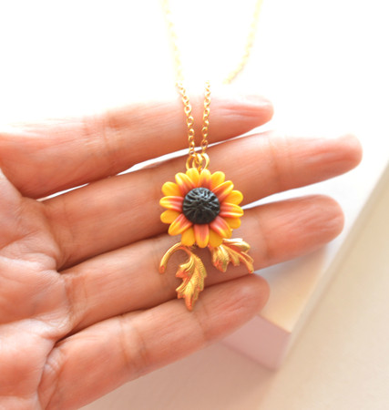 Iriana Necklace in Red Yellow Sunflower