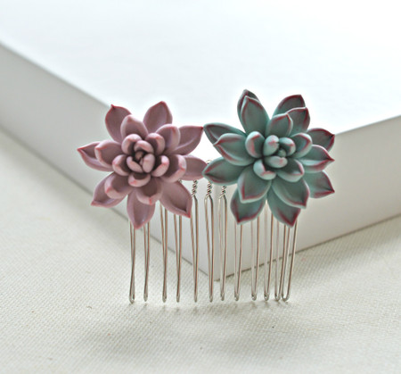 Wendy Hair Comb in Mauve Pink and Dusty Mint Succulent