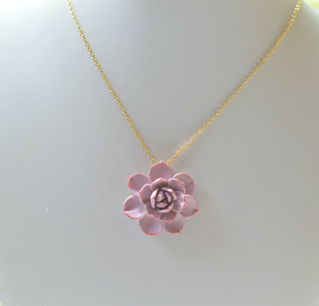 Alea Drop Necklace In Mauve Pink succulent