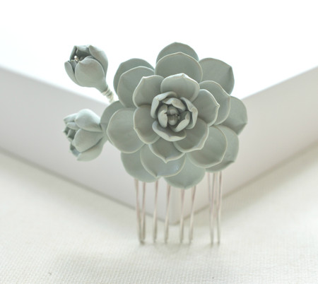 Gray Green-ish Succulent Hair Comb