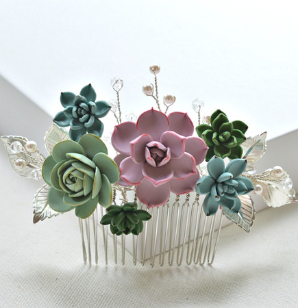SASSA Bridal Hair Comb in Multicolors Succulent