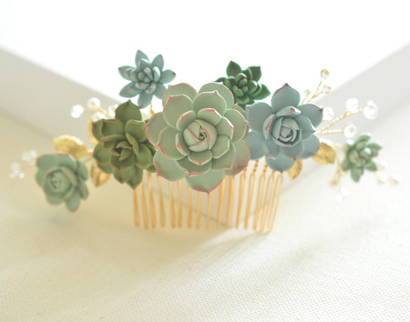 SARAH Bridal Hair Comb in Multicolors Succulent