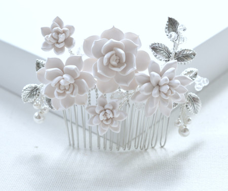 SHINTA Bridal Hair Comb in White Succulent