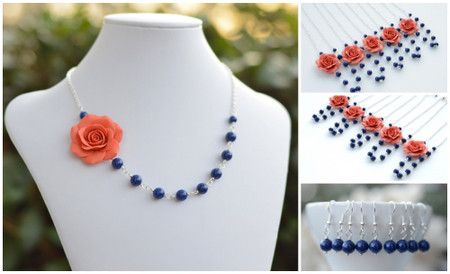 Alysson Asymmetrical Necklace in Coral . FREE EARRINGS