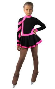 IceDress Fuchsia with Black Figure Skating Dress Avangard