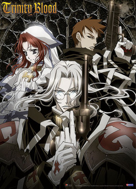Trinity Blood Esther, Abel, and Gunslinger Anime Wall Scroll