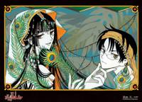 xxHOLiC: Yuko and Watanuki Peacock Feathers Wall Scroll