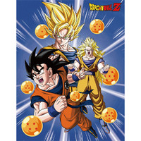Dragon Ball Z: Goku Three Forms with Dragon Ball Sublimation Throw Blanket