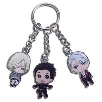 Yuri!! On Ice: SD Yuri, Victor, & Yurio Group Metal Keychain