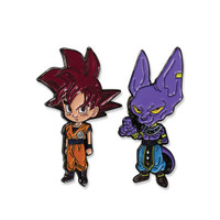 Dragon Ball Super SSG Super Saiyan God Red Goku & Beerus Pins Set of 2