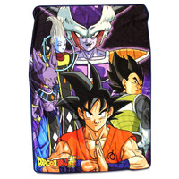 Dragon Ball Super Goku Vegeta Whis Beerus Frieza Group Throw Blanket