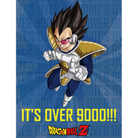 Dragon Ball Z: Vegeta It's Over 9000!!! Sublimation Throw Blanket