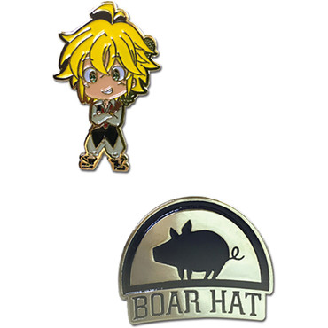 The Seven Deadly Sins: Meliodas & Boar Hat Metal Pins Set of 2