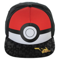 Pokemon Pokeball with Pikachu Youth Snapback Cap Hat