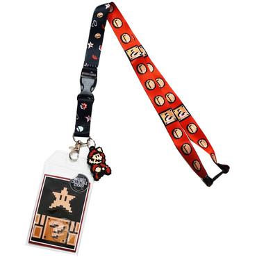 Nintendo Super Mario Lanyard with ID Badge Holder & Pixel Mario Charm