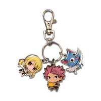 Fairy Tail S7 SD Natsu, Lucy, and Happy with Wings Metal Keychain